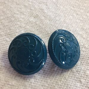 Teal metal clip earrings